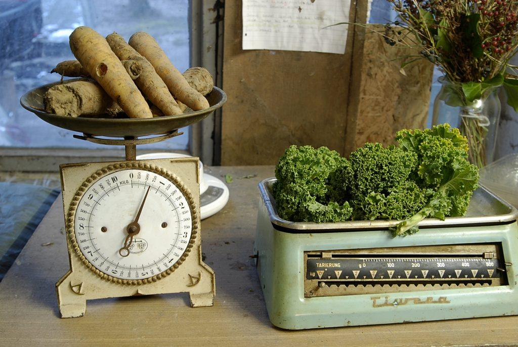 Zwei Waagen mit Möhren und Grünkohl